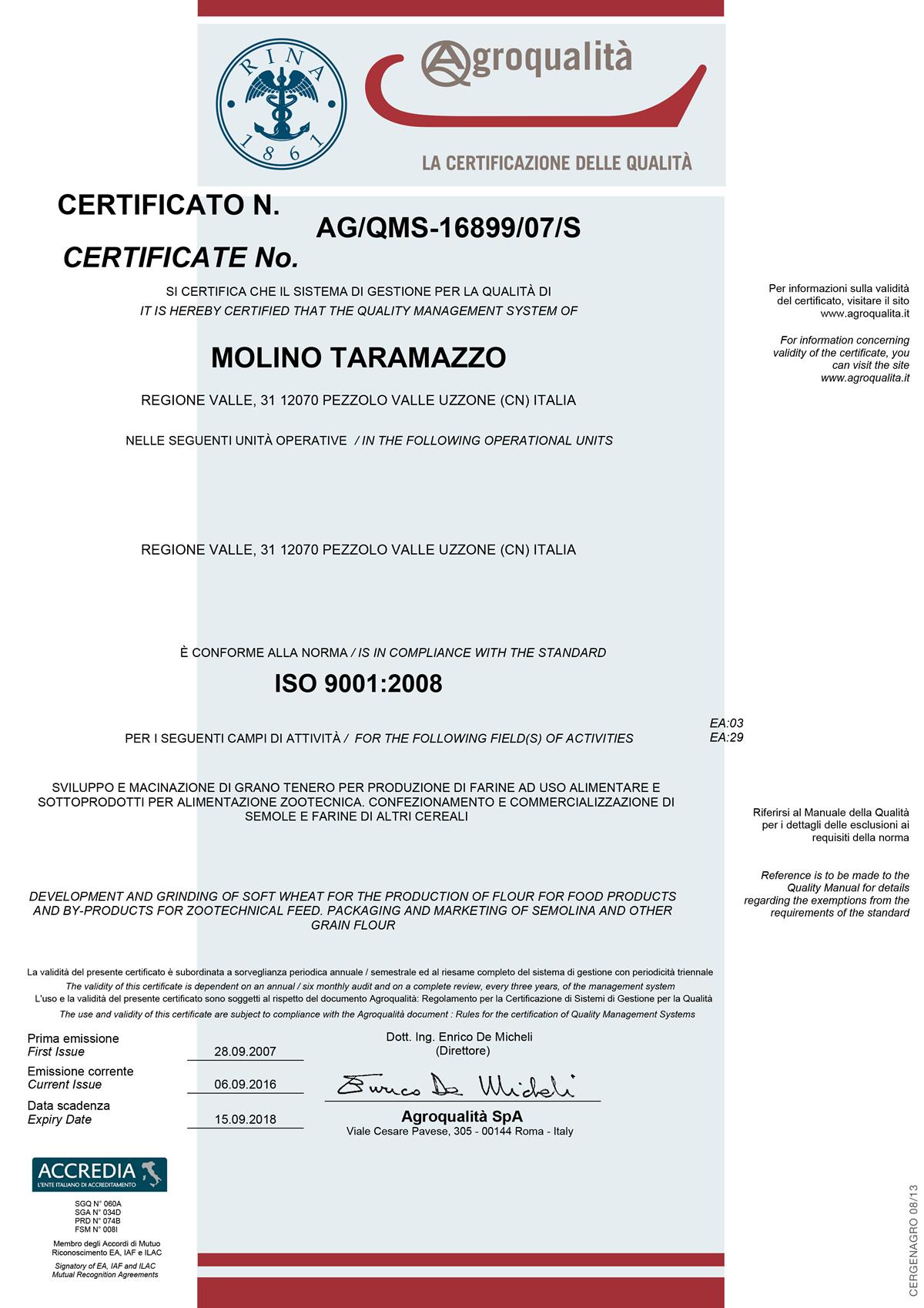 Certificato ISO 9001:2008 Molino Taramazzo.